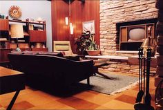 Far From Heaven - 1950's upper middle class living room with wood and culture stone | Production Designer: Mark Friedberg