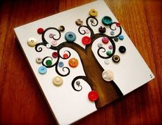 Update: - Make your own button tree using our step-by-step Button Tree Tutorial ! - Read The Button Tree Story about how we started (an. Cute Crafts, Crafts To Make, Crafts For Kids, Arts And Crafts, Diy Crafts, Decor Crafts, Button Tree Art, Button Art On Canvas, Canvas Art