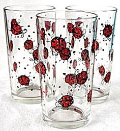 Lady Bug Drinking Glasses Set of 3 (Drinking Glasses) at Silversnow ...