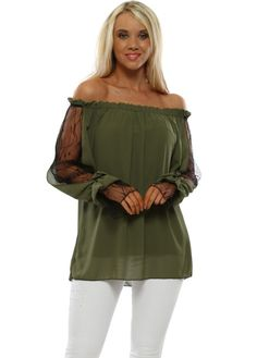 Stylish green lace off the shoulder bardot tops available now at Designer Desirables. Browse more bardot tops with free UK delivery on all orders Off Shoulder Blouse, Off The Shoulder, Green Lace Top, Bardot Top, Lace Cuffs, Going Out Tops, Lace Sleeves, Lace Tops, White Jeans