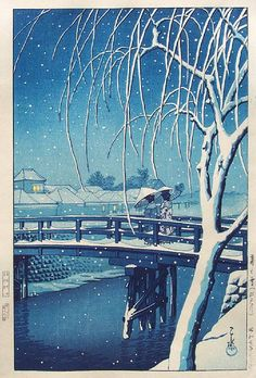 Evening Snow at Edo River (Or, Another Version of Ukiyo-e Art That We Like. Japanese Drawings, Japanese Artwork, Japanese Painting, Japanese Prints, Art Occidental, Japon Illustration, Art Asiatique, Japan Art, Woodblock Print