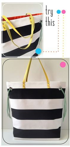 Make your own - Stripe + Neon Tote by fabricpaperglue,