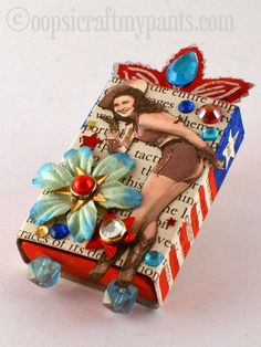 altered match box | Oops, I Craft My Pants: Red, White and Blue Pin up Altered Matchbox