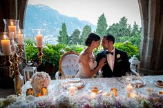 Sweetheart table with a view for T&K - magnificent vistas over the #amalficoast from the crypt of #villacimbrone photo credit @carlocarletti #luxuryweddings #italyweddings #copticwedding #fabulouswedding #picoftheday