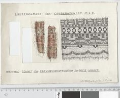 Oseberg Findings from folder 'Oseberg, textiles - silk': Silk Fabric 1, fragment 16 and 7. The character of Sofie Krafft: a / ink drawing ('trying construction') and b / watercolor ('character') and cut out. Measure A / B: 26 cm, H: 18.2 cm, b / B: 6.3 cm, H: 10.5 cm.