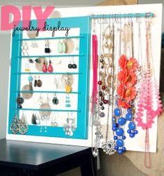 DIY Jewelry Display #organize #organization #jewelry