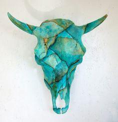 Cow Skull Turquoise Painted Art Sculpture Cowboy Western Decor via Etsy Bull Skulls, Deer Skulls, Elk Skull, Western Decor, Western Cowboy, Cow Skull Art, Cow Skull Decor, Skull Print, Art Print