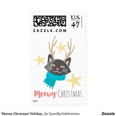 'Meowy Christmas' Holiday Cat In Antlers Custom Postage @zazzle