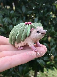 Cactus Hedgehog Animal Plant Pal Handmade Ooak Polymerclay Sculpture by Mystic Reflections Hedgehog Animal, Polymer Clay Creations, Cactus, Sculpture, Bird, Plants, Handmade, Animals, Hand Made