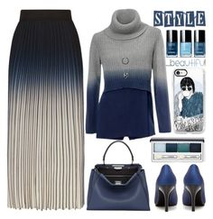 """Cold Weather"" by grozdana-v ❤ liked on Polyvore featuring Maje, Fendi, Clinique and Casetify"