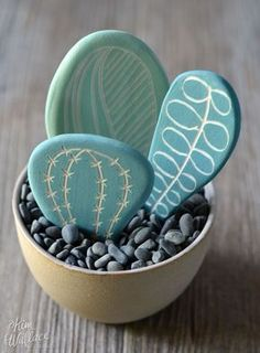 DIY painted rock cactus garden