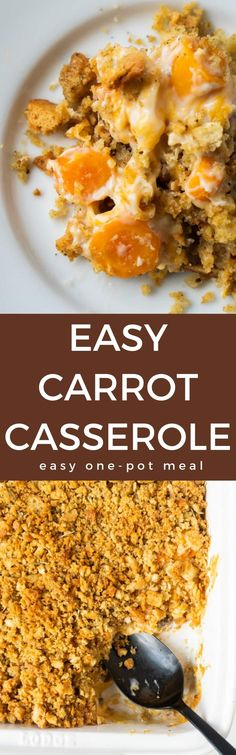 Carrot Casserole is a super easy one-pot meal that combines tender carrot coins with cream of mushroom soup and cheese and is topped with herbed stuffing. Carrot Casserole, Easy Casserole Dishes, Casserole Recipes, Side Dish Recipes, Dinner Recipes, Fast Easy Dinner, Easy One Pot Meals, Cooked Carrots, Vegetable Side Dishes