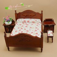 1:12 Dollhouse Miniature furniture Bedroom set wood brown victorian Bed 4 pcs #Unbranded
