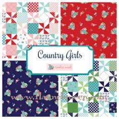 Country Girls Flannel Fabric by Riley Blake. Pinwheels - Red - Navy - Aqua - Green.  Adorable! www.flannelqueen.com