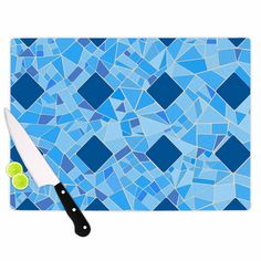 "Afe Images ""Abstract Mosaic Pattern2"" Blue Teal Digital Cutting Board from KESS InHouse. Cutting Board Details ► Made of tempered glass, non-skid feet ► Dishwasher Safe ► Printed in the USA"