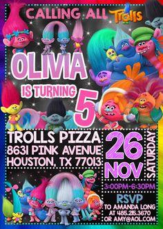 Trolls Movie Chalkboard Birthday Invite