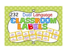 Classroom Labels in yellow polka dots- dual language