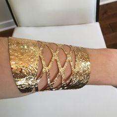 Gold Color Cuff. Gold Color Wide Cuff. Jewelry Bracelets