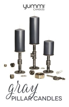 """Love our gray candles? From now until father's day (June 19th, 2016) get 30% off all gray 3"""" round pillars. P.S. Stay tuned for a DIY post on making the industrial candle holders featured in this blast ;)"""