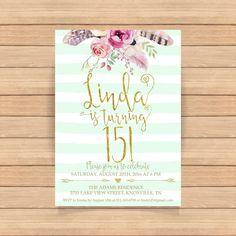 15th birthday invitation Fifteenth birthday Gold by CoolStudio