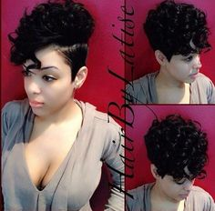 ❤ this cut. Beautifully done! Short Weave Hairstyles, Black Girls Hairstyles, Curly Pixie Cuts, Cut Life, Short Wigs, Short Styles, Hair Journey, How To Look Classy, Cut And Style