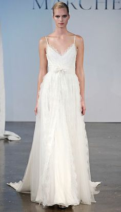 Marchesa Spring 2014: Chantilly scallop lace gown with grosgrain straps
