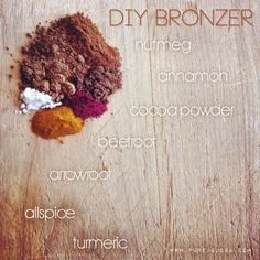 DIY ALL NATURAL BRONZER using ingredients straight out of your pantry. Easy peasy, all natural, and AMAZING for your skin. Trying this out ASAP!