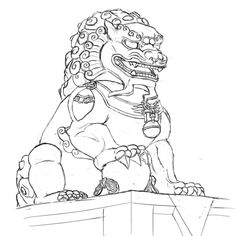 chinese guardian lion drawing - Google Search