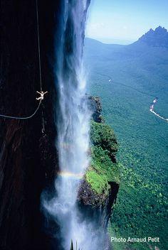Stephanie Bodet in front of Salto Angel - Venezuela by Petzl sport, via Flickr