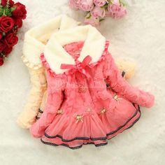 High Quality!! Baby Children Girls Floral Flower Winter Faux Fox Fur Collar Coat Clothing