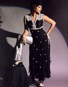 black sheer dress with silver pant Indian Suits, Sheer Dress, Pretty Dresses, Gowns, Silver, How To Make, Pants, Black, Fashion