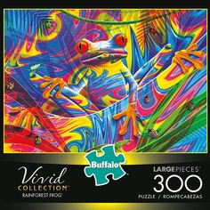 300 Piece Puzzles, Puzzle Pieces, Puzzle Toys, Puzzle Art, Walmart Puzzles, Rainforest Frog, Buffalo Games, Puzzle Shop, Psychedelic Colors