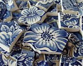 China - Blue & White Flowers - Copper Engraving -  Broken Plate -Tessera