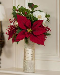 Silk Poinsettia & Magnolia Vase Arrangement | Dazzling Floral Holiday Arrangements For Any Space