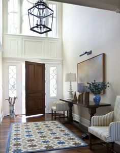 Traditional White Entry Hall with High Ceiling | Luxe | Entries + ...