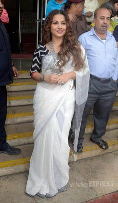 Vidya Balan at a Charlie Chaplin art exhibition in Mumbai. #Bollywood #Fashion #Style #Beauty #Saree