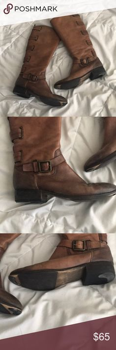 "Arturo Chiang Brown Riding Boots In great used condition. Leather is all in tacked.  Boots show some signs of wear. Distressed look. Has sole implants like shown in pictures. 31"" long  with a 1.5"" heel Arturo Chiang Shoes"