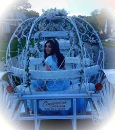 La Quinceanera on the way to Galloping Hills Caterers Union NJ in our Cinderella Carriage for her party.