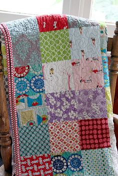 I love a quilt with random patchwork fabrics