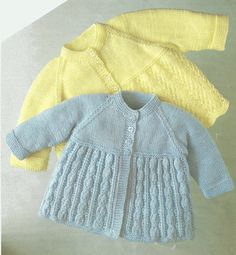 PDF Knitting Pattern for Patterned Baby Matinee Coats