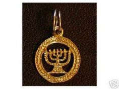 Hanukkah Jewish Charm Gold Plated menorah candle silver Sterling Silver 925 Jewelry