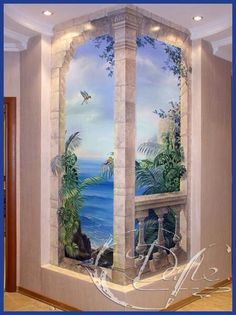 Wallpaper Mural Tricks: How to Choose and Install Mural Wall Art, Mural Painting, 3d Wall, Diy Painting, Concept Art Landscape, Nature Paintings, Wall Design, Home Art, Street Art