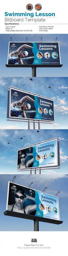 Swimming Lessons Billboard Template Vector EPS, AI Illustrator