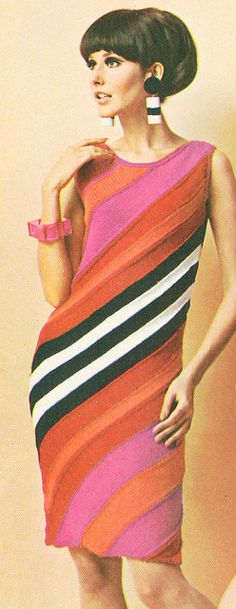 1967 Knit Angle Stripe Dress via flickr