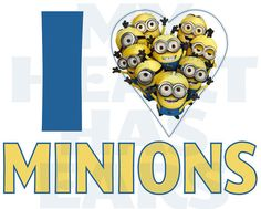 Printable DIY I love heart Minions Despicable Me Universal Studios Iron on transfer framed art Minion Rock, Cute Minions, Minions Despicable Me, Funny Minion, Minions 2014, Minion Jokes, Universal Studios, I Love Heart, My Love