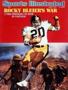 Rocky Bleier appears on the June 1975 cover of Sports Illustrated. A pick out of Notre Dame in Bleier had been drafted into the Army December of that year, after his rookie season,. Go Steelers, Pittsburgh Steelers Football, Pittsburgh Sports, Football Pics, Football Memes, School Football, Football Cards, Sports Magazine Covers, Si Cover