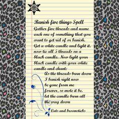 banish 5 things spell