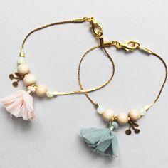 bracelet pompons soie
