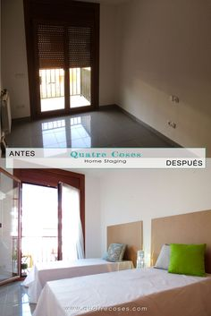 antes y despues de dormitorio doble. home staging, decoracion neutro, luz y color