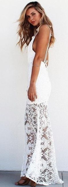 #summer #musthave #outfits | Mermaid White Lace Maxi Dress